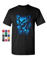 Blue Skulls T-Shirt Skull Face Death Dead Reaper Hell Evil Demon Mens Tee Shirt