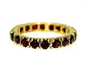 9ct 9k Gold Garnet Full Eternity Ring Size 7 3/4 - P