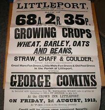 1913 LITTLEPORT Cambridgeshire ORIGINAL FARM CROPS AUCTION POSTER