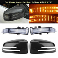 Carbon Fiber Look Mirror Cover LED Turn Signal For Mercedes-Benz W212 W204 W221