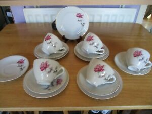 Tea set Red Rose marked foreign