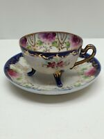 Antique 3 Footed Hand Painted Floral Gold Trim Demitasse Cup and Saucer Purple