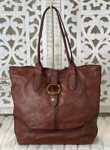 Retired FRYE Bag Cognac Leather Ring Large Shopper Tote Travel Carryall/On EUC