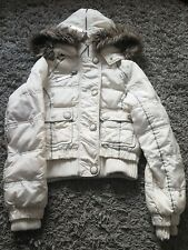 River Island Padded Cream Coat With Huge Hood Size 10 Warm. Some Bobbling