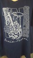BEALE STREET MEMPHIS Navy Blue Mens T Shirt Saxophone Blues Jazz Musician SZ XL
