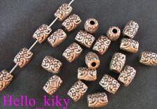 100Pcs  Antiqued copper plt crafted barrel spacers A198