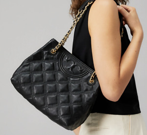 Tory Burch Fleming Soft Quilted Small Tote Shoulder Bag Black Authentic New