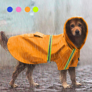 Reflective Winter Raincoat for Large Dogs Hoodie Mesh Rain Snow Wear Dog Clothes