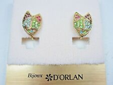 Pastel Swarovski Crystals - 1369 D'Orlan Gold Plated Clip Earrings with