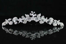 FLORAL CLEAR RHINESTONE TIARA HAIR COMB WEDDING PROM PARTY HAIR JEWELRY H1730