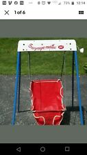 Vintage 1970's Graco Swyngomatic Wind Up Crank Baby Swing Red Seat Works