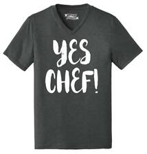 Mens Yes Chef Triblend V-Neck Dad Mom Wife Husband