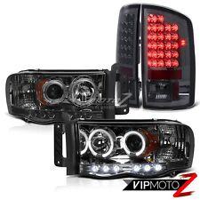 Dodge RAM 02-05 1500/2500/3500 HaLo Projector L+R Headlight+SMOKE LED Tail Light