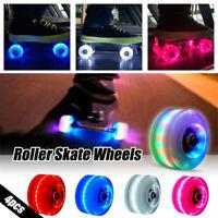 4pcs Luminous Light Up Quad Roller Skate Wheels With BankRoll Bearings Installed