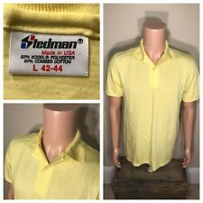 Vintage Stedman Polo rugby Tshirt Deadstock NOS yellow Large 50/50 thin soft 80s
