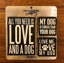 DOG LOVERS Magnet Set - 3 wood magnets w/ varied sayings  Primitives by Kathy