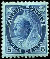 Canada #79 mint F-VF OG HR 1899 Queen Victoria 5c dark blue Numeral CV$200.00