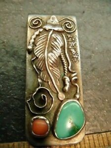 VINTAGE NATIVE AMERICAN SILVER MONEY CLIP TURQUOISE & CORAL, STERLING ?