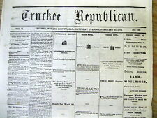 1874 Truckee CALIFORNIA newspaper 1st report LEGEND of LOST DUTCHMAN'S GOLD MINE