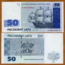 Latvia, 50 Lati, 1992, P-46,  A-A, UNC > Sailboat, Pre-euro
