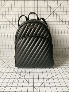 NWT Michael Kors Abbey Medium Quilted Backpack Vegan Faux Leather Bag Black