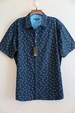 NWT Sahara Club Black w/Blue Shark Print Short Sleeve Cotton Blend Shirt Size XL