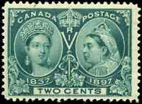 Canada #52 mint VF OG NH 1897 Queen Victoria 2c green Diamond Jubilee CV$150.00