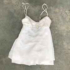 Victoria's Secret White Silk Blend Negligee XS Crystal Rhinestone Teddie