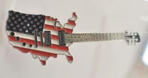 USA Flag Map Guitar 2004 Somali Rep Silver Plate and Color