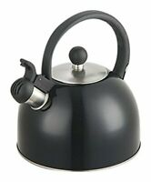 Diamond Home Stainless Steel Tea Whistling Kettle w/ Trigger Spout Black 2.5 Qt