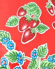 Oil Cloth YardageTablecloth Craft Fabric BTY Red Strawberry Preppy Cute Vintage