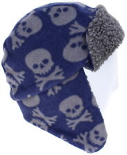 eace2e2ce30f5 John Lewis Boys Fleece Cap Trapper Hat Soft Warm Skull Crossbones Navy Grey  S/m