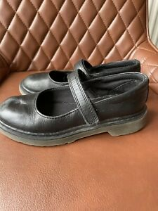Girls Black Leather Dr Martin Shoes Size 13
