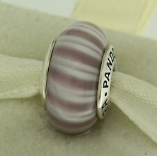Authentic Pandora 790681 Candy Stripe Lavender Murano Glass Retired Bead Charm