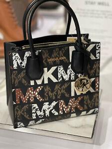 Michael Kors Mercer Small Satchel Messenger Graphic Logo MK Leather Black Multi