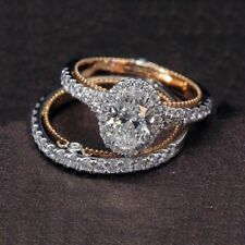 925 Silver,Rose Gold Round Cut CZ Wedding Band Engagement Rings Set Women S 6-10