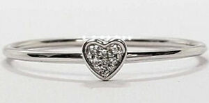 Valentine 0.18CT Natural Round Diamond 14K Solid White Gold Heart Ring size7