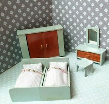 Schlafzimmer Paul Hübsch 1:18 geeignet für Lundby Puppenstube Puppenhaus 50er J.