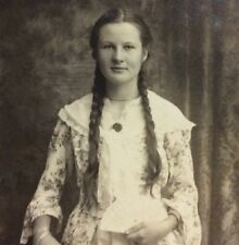 """Girl Long Hair Braided Pigtails Braids vintage photo 9"""" X 6"""" Chinoiserie"""
