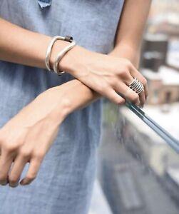 NWOT Uno De 50  Brown Leather Silver Cuff Bracelet