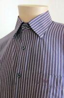 GIORGIO ARMANI Men's Purple Lavender Striped Short Sleeve Shirt M Medium