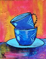 MARINA REHRMANN Original Acrylic Abstract Painting, Teacups Art 11 x 14 🧿🧿🧿🧿