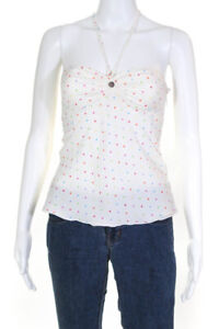 Julie Brown Womens Halter Top Cream Multi Color Dot Print Size Extra Small