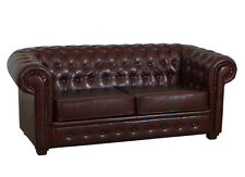 2 Seater Chesterfield Antique Dark Brown Sofa Soft Leather Couch Settee