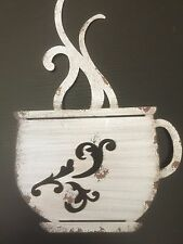 NEW  White Designed Coffee Cup Metal Wall Art Decor. Hot Home Decor Accent.