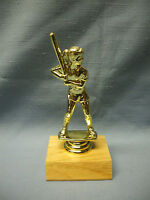 gold female softball trophy wood base award party favor