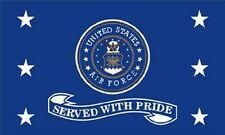Air Force Served With Pride Flag 3x5 ft USAF Veteran Vet Retired US Military USA