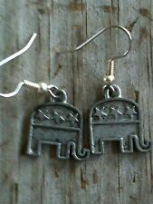 Plated Pewter Earrings Republican Gop Elephant Silver
