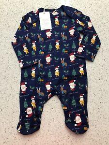 BABY GIRL BOY XMAS SLEEPSUIT AGE 3-6 MONTHS BNWT BOOTS MINICLUB CHRISTMAS