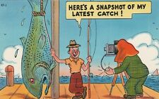 Comic Giant Fish Fisherman Fishing Pole Camera etc